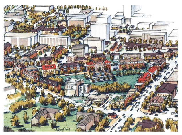 Rendering of type of development GTCCA would like to see at Towson Triangle