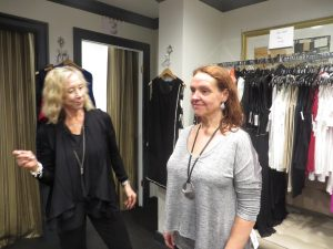 Image consultant Judy Pressman, left, works with Mary Crenson